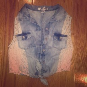 Tops - Denim and white lace crop top